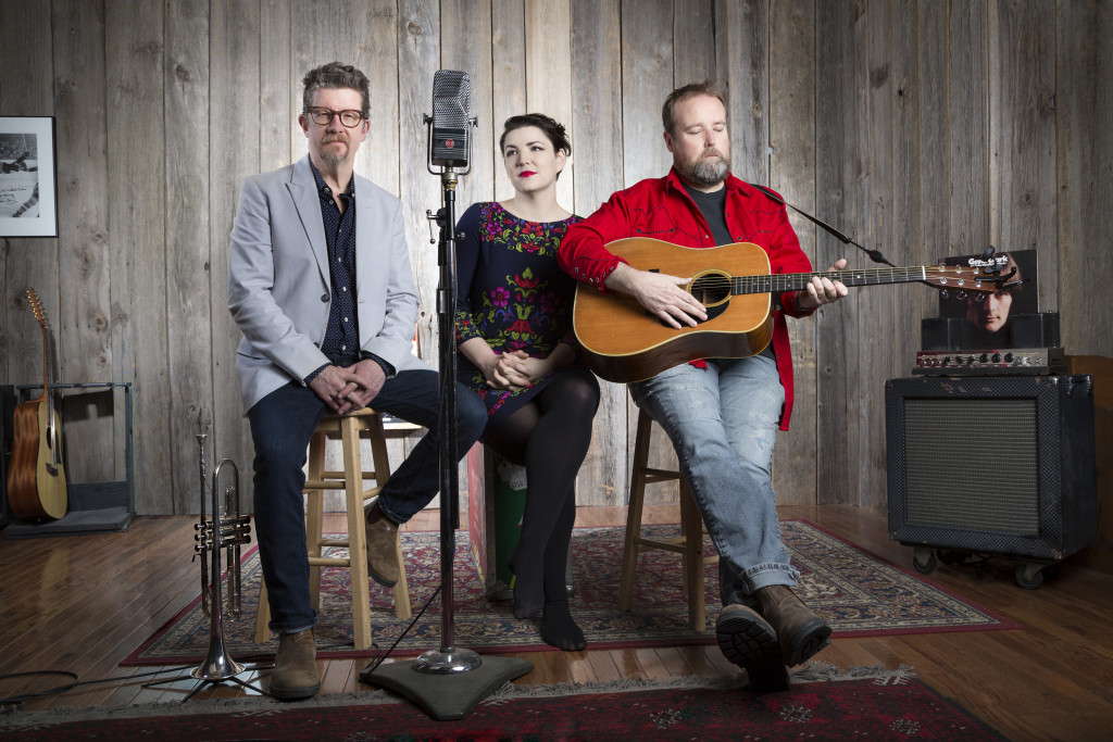 SKYDIGGERS TRIO - Left to Right: Andy Maize, Jessy Bell Smith, Josh Finlayson. Photo by Heather Pollock.