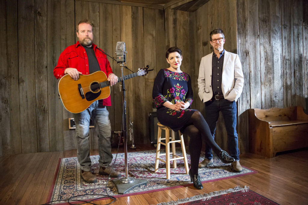 SKYDIGGERS TRIO - Left to Right:  Josh Finlayson, Jessy Bell Smith, Andy Maize. Photo by Heather Pollock.